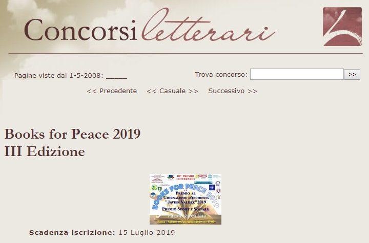BOOKS FOR PEACE 2019 pubblicato sul sito concorsiletterari.it
